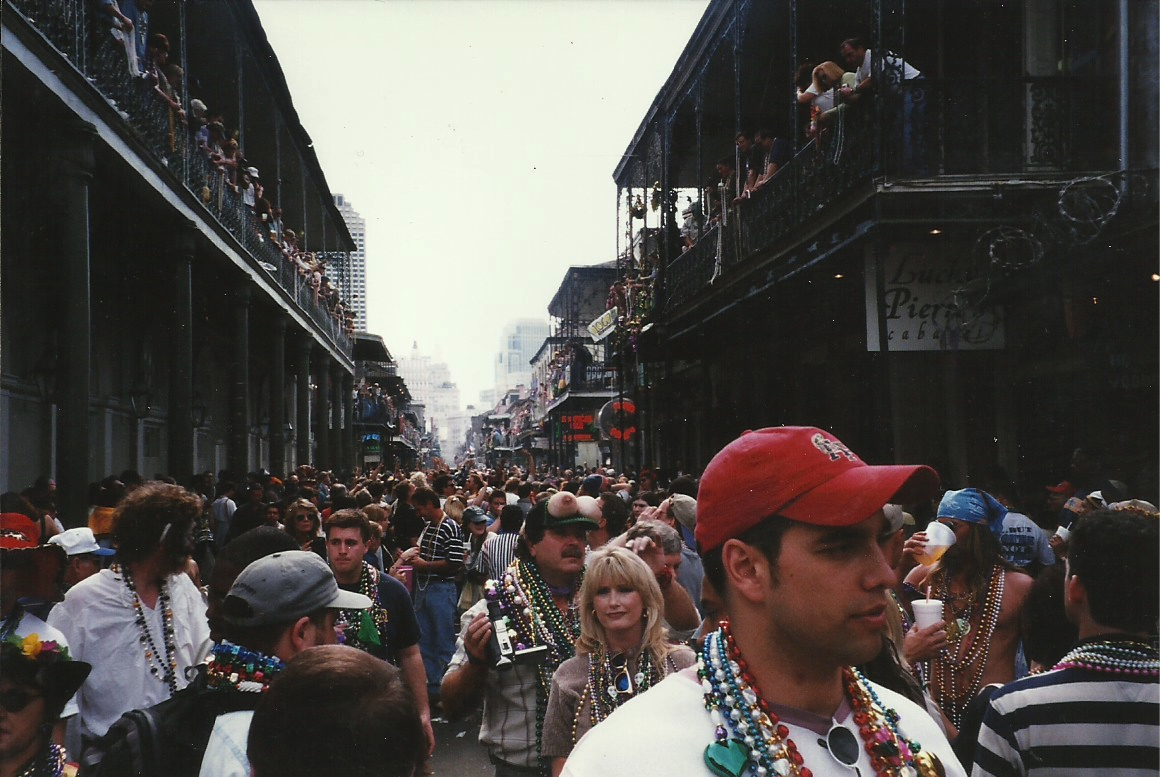 Bourbon Street on Fat Tuesday: beads and boobs.