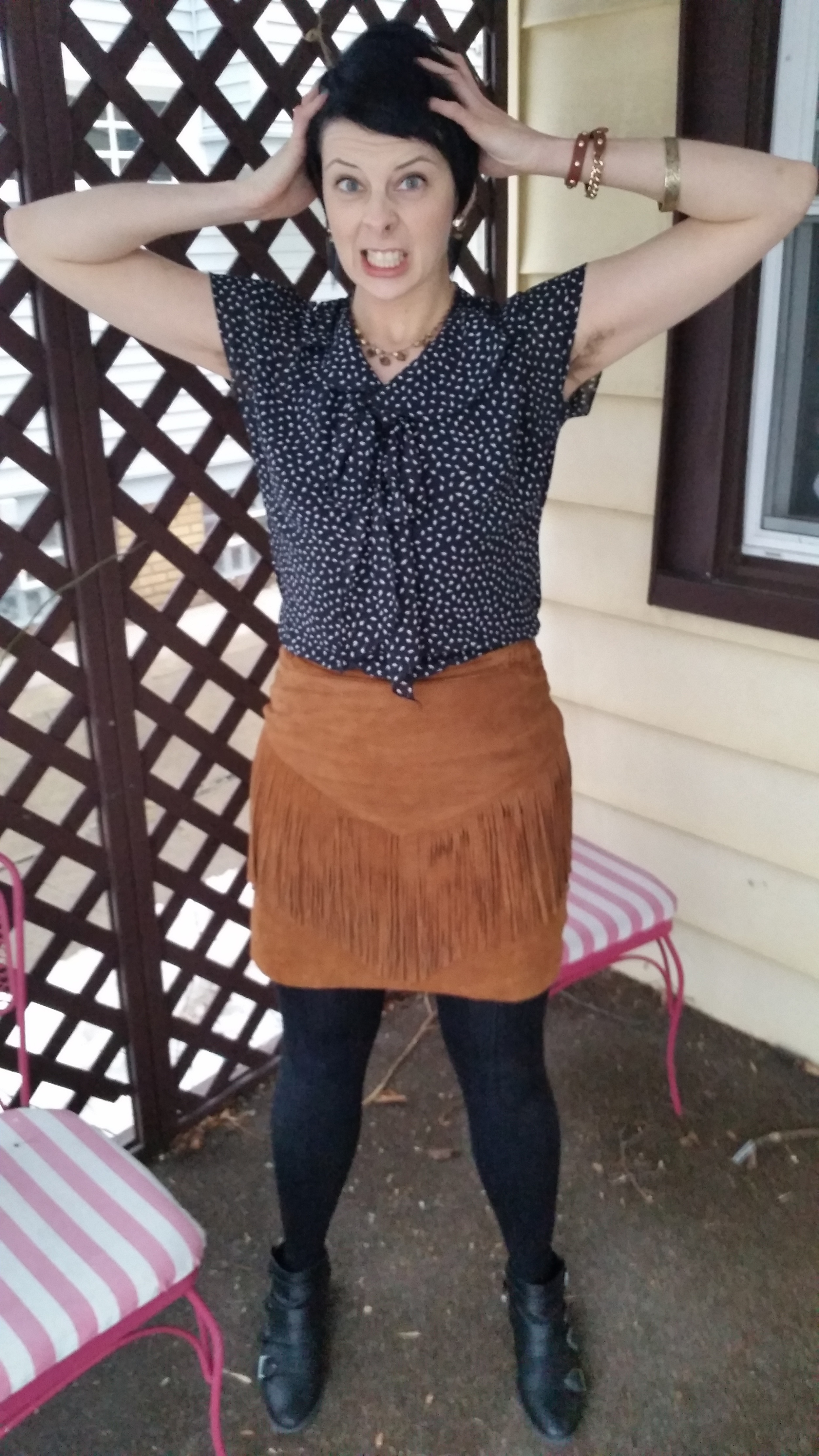 What I'm wearing: vintage blouse from a clothing swap, thrifted vintage suede skirt, H&M sweater tights, Target boots and earrings, snake vertebrae necklace,  Baublebar  leather wrap bracelet, thrifted vintage bangle bracelet, homegrown armpit bush.