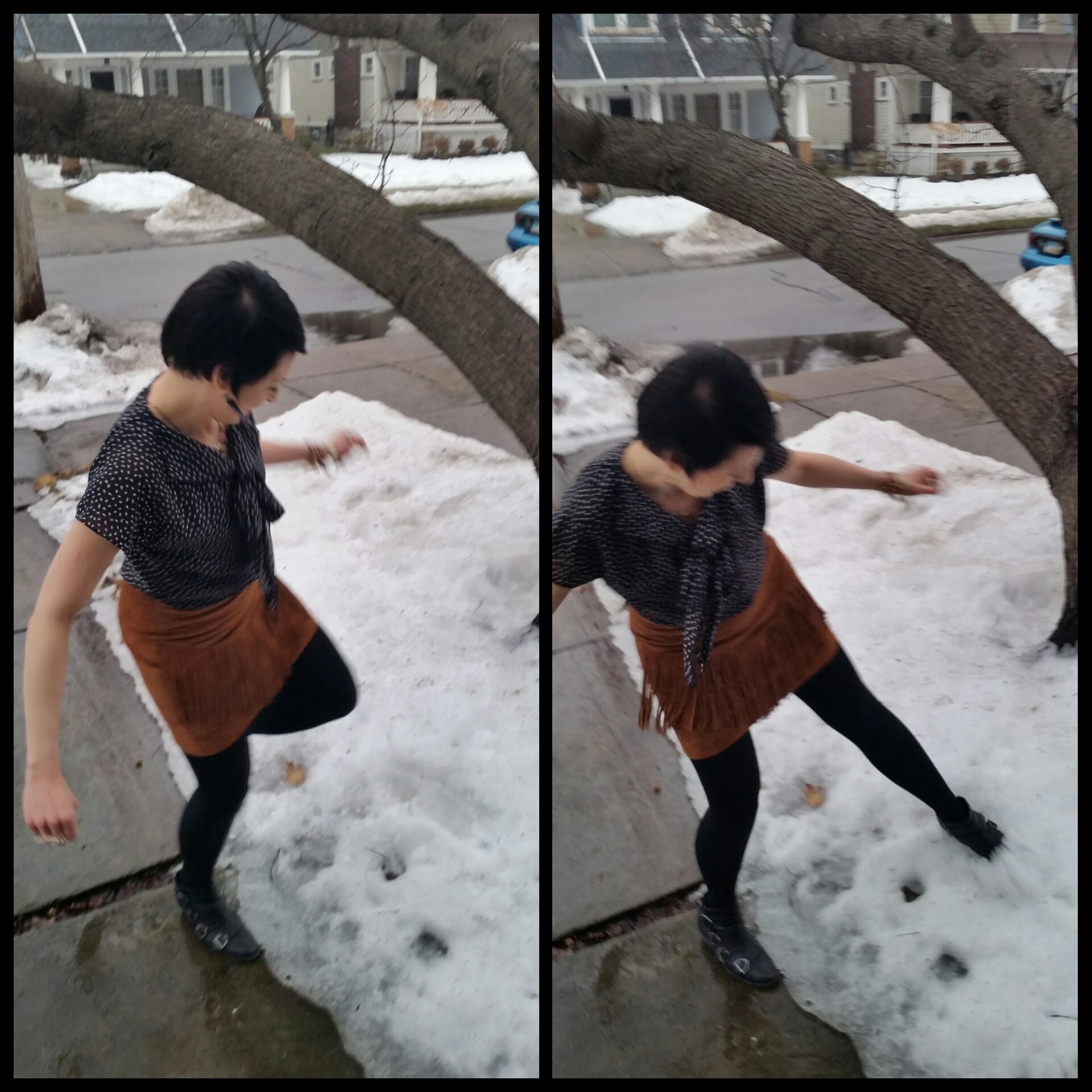 Here's me kicking the shit out of the snow: DIE SNOW DIE!!!