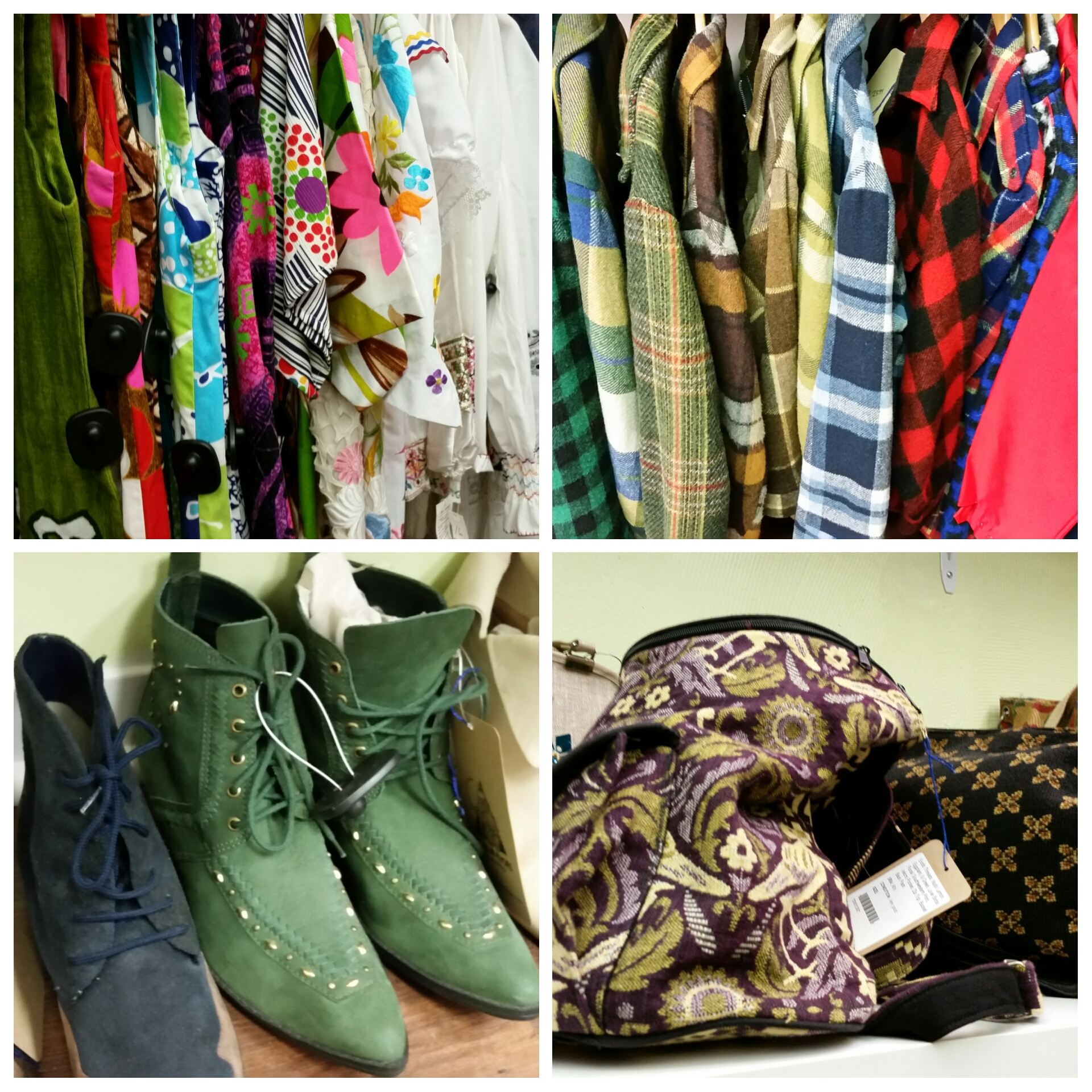 Clockwise from upper left: an assortment of colorful vintage dresses, dress your dude as a lumberjack with a big assortment of men's plaid shirts, cool purses, green boots that I fell in love with but did not buy (maybe you should?)