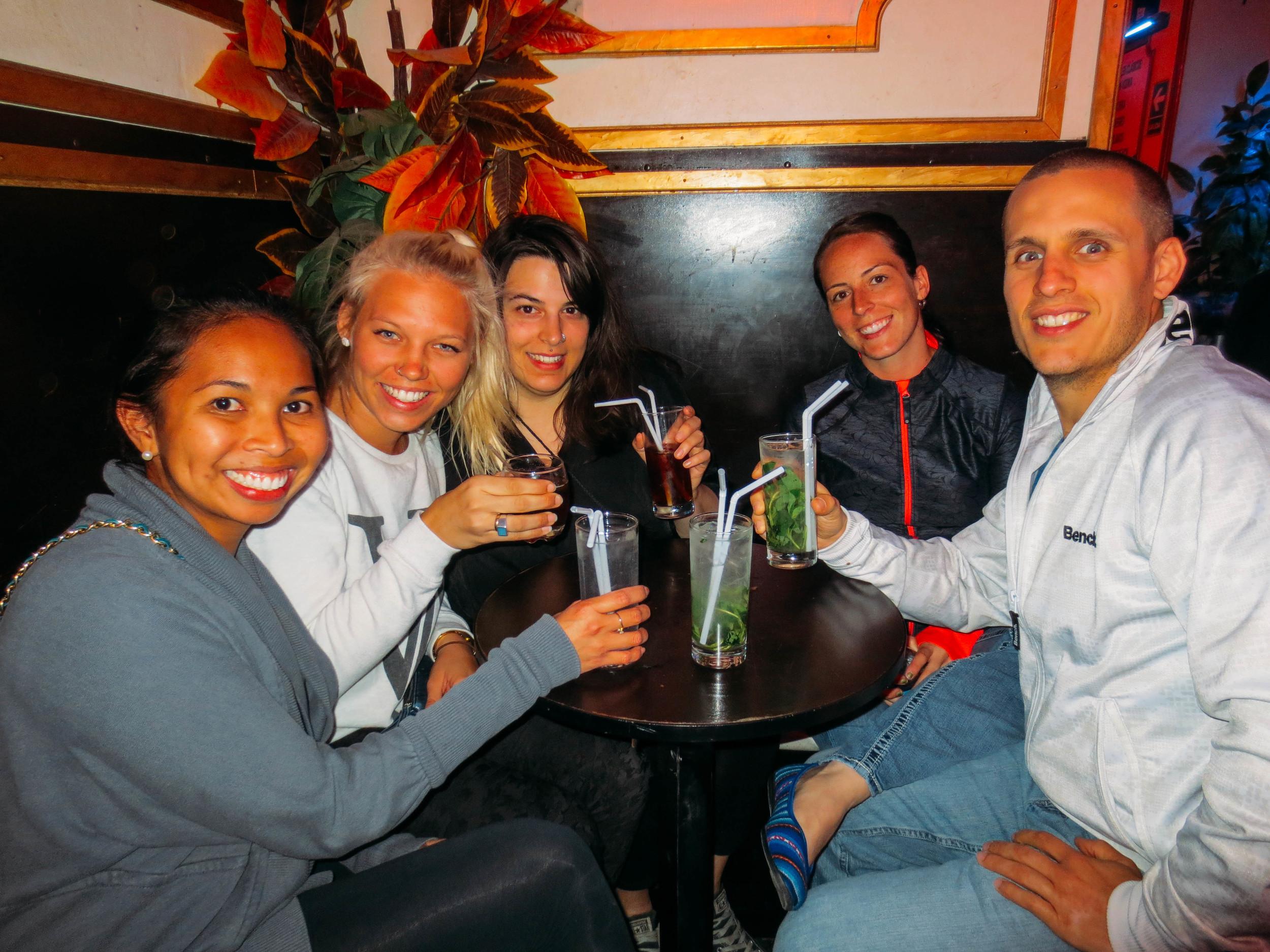 Group shot at the first bar