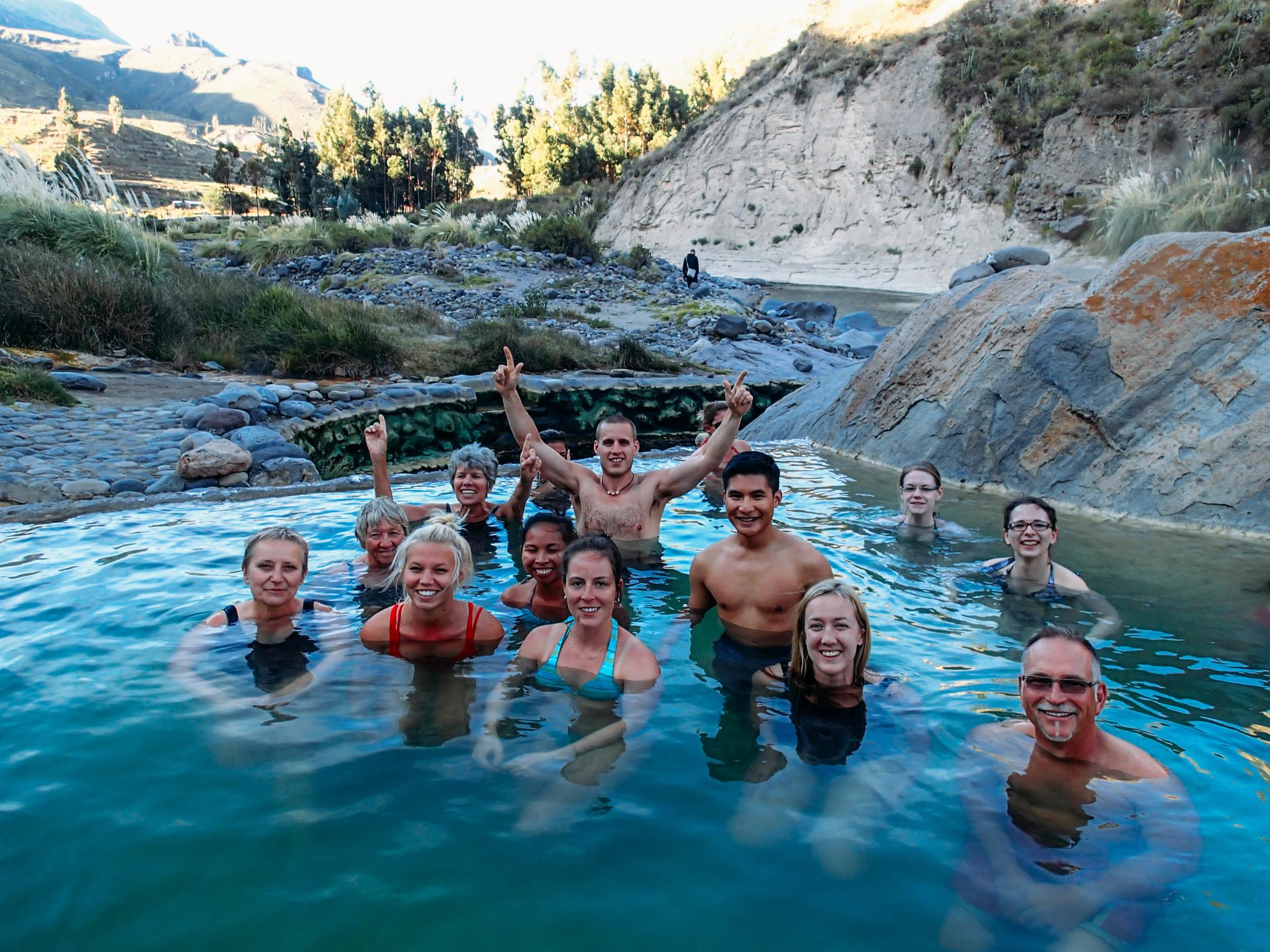 Group shot at the hot springs