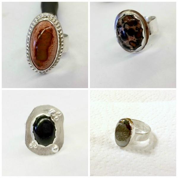 Students' finished rings... Opal (top left), jasper (top right), blue goldstone (bottom left), and silver druzy (bottom right).