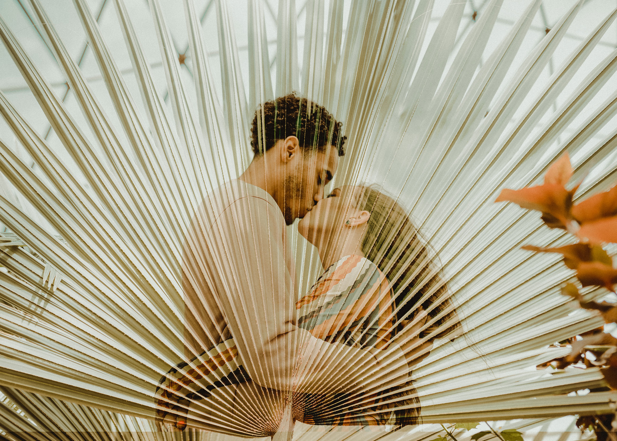 double-exposure-couple-kissing-with-giant-leaves-engagement-desmoines-iowa-raelyn-ramey-photography.jpg