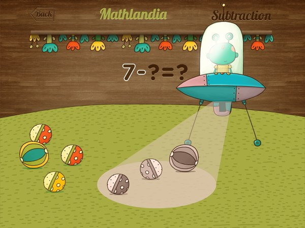 BEST EARLY MATH APP: Mathlandia illustrates the concept of subtractions using an alien spaceship that beams up objects