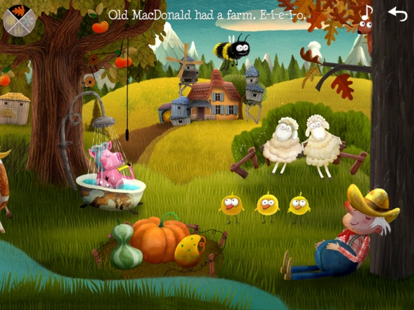 Lovely hand-drawn illustrations accompany classic nursery rhymes in this lovely app.
