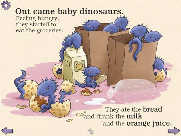 Dino-Store is a lighthearted tale of a father and a son who find a dozen of dinosaur eggs at the grocery store.