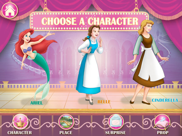Disney Princess: Story Theater is a creativity app that features three beloved Disney princesses