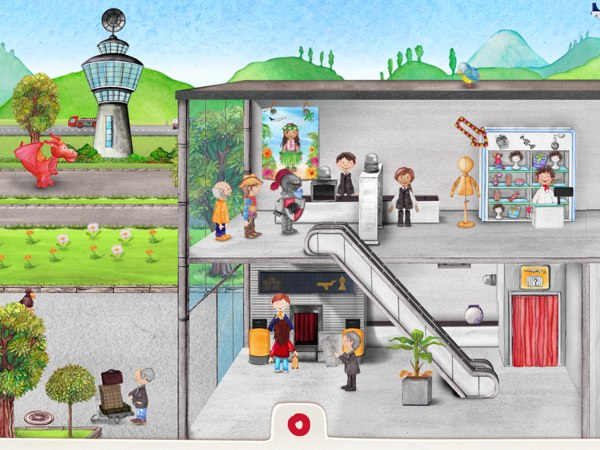 Explore the airport and interact with the different characters to explore their stories.