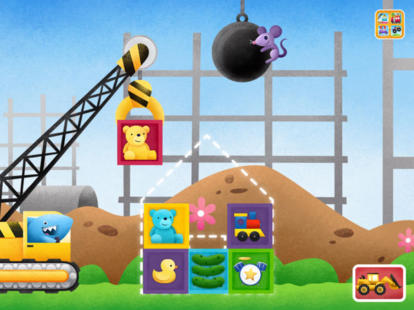 Build your structure with the crane, and then knock it off with the wrecking ball