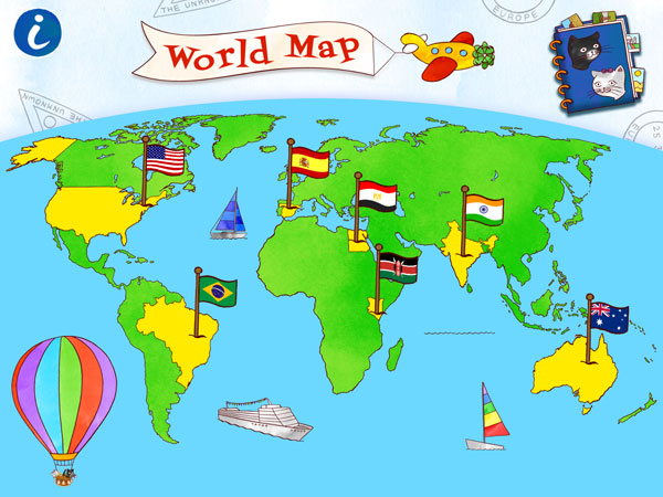 The app lets you visit several countries around the world.