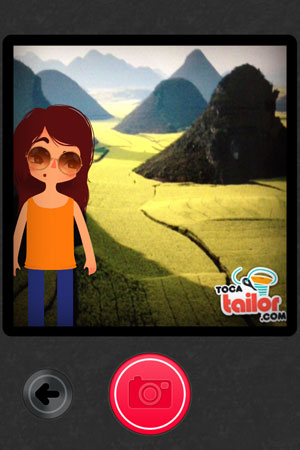Toca Tailor review - Using your device's camera, you can place your dressed-up characters in real life settings.