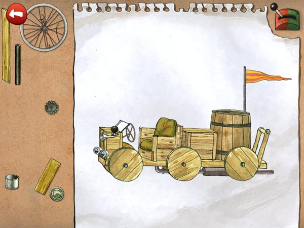 The bonus levels are playable anytime. In one of them, you can build a soapbox racer from scratch.
