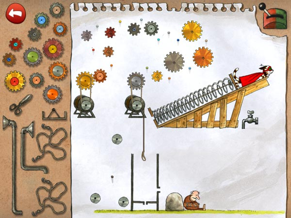 In the final level, you must place multiple gears collected from previous levels to help launch Pettson's pet into space.