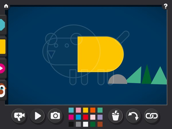 The app also has predefined object patterns, which you can add to your canvas.