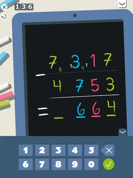 Magic Slate allows kids to practice subtraction in a more abstract way.