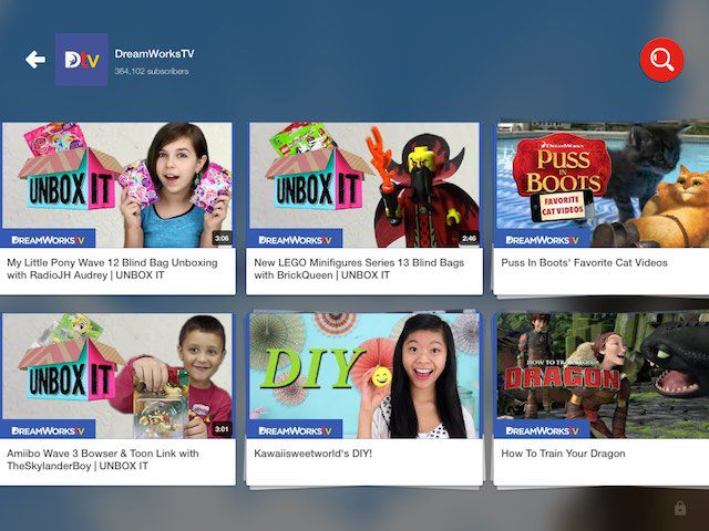 YouTube Kids includes videos and playlists from popular channels, both from brands and independent artists.