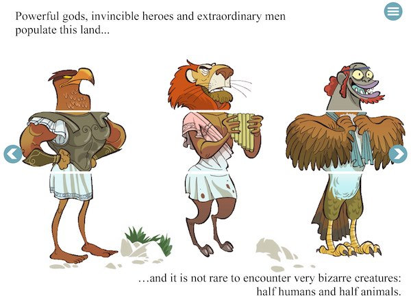 Interactive and comical illustrations adorn every page, such as this flip-flap book where you can create unique hybrid creatures