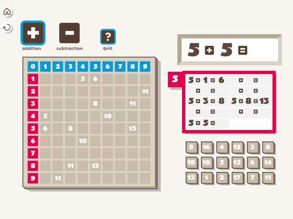 The app provides learning addition and subtraction tables.