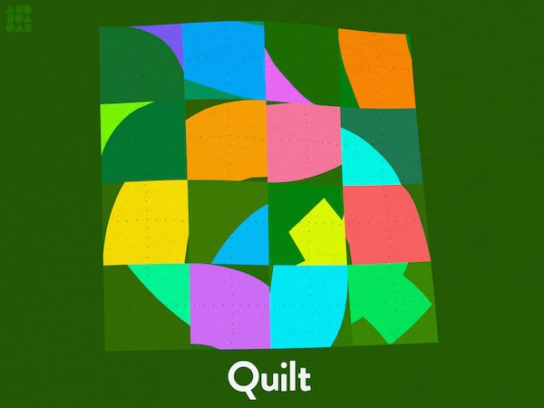 You can interact with each transformation, such as rearranging the tiles in this quilt to form a Q