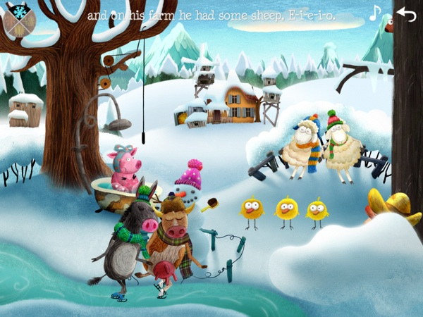 Each scene is designed with multiple layers to allow multiple animations at the same time. Here, the scene depicts the changing of seasons in Old Macdonald's farm.