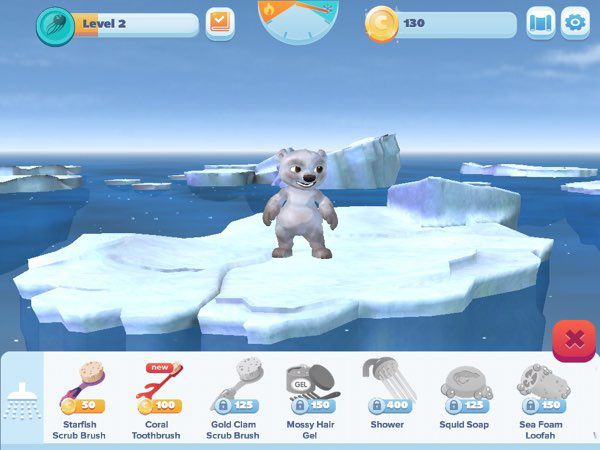 To level up, you're asked to feed, clean, and play with Koda the polar bear on top of his tiny iceberg.