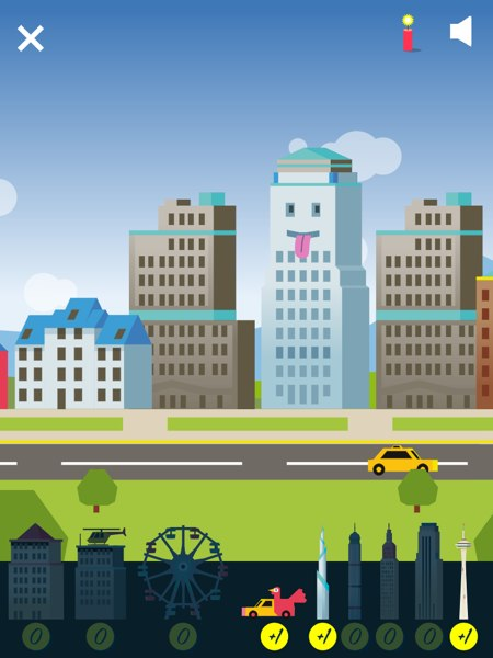 Montessori Math City allows kids to build their own cities with elements that they earn. Tap the buildings to see them animate.