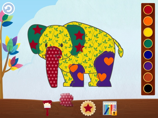 Paint the animals using colorful brushes, patterns, and stamps