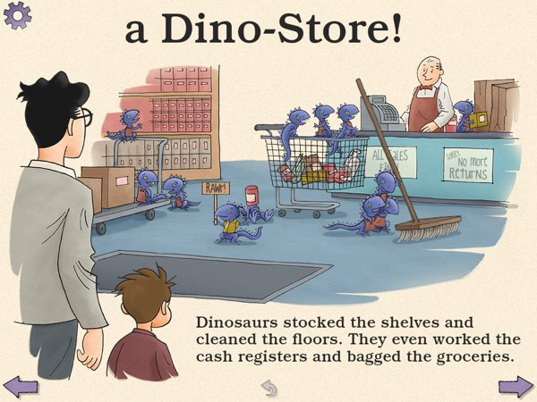 The diligent baby dinosaurs help out at the grocery store.