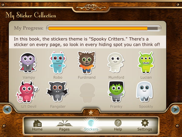 Find and collect stickers of spooky creatures that are hidden in every page.