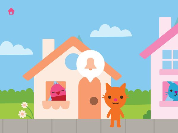 Kids guide their character around the neighborhood to visit their friends