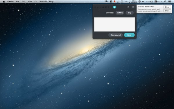 The Mac version adds a small widget in the Menu bar for writing quick notes.