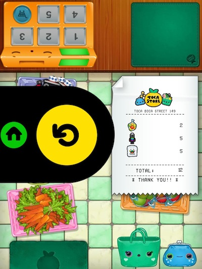 Toca Store Review - After completing the entire shopping session, you can verify all your purchases in the printed receipt