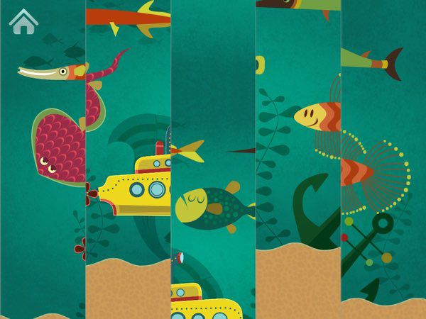 Sea Puzzle allows one-year-olds to play puzzles intuitively on their own.