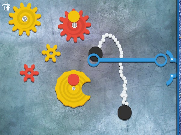 The game introduces kids to various tools such as gears, chains, pulleys, and rods.