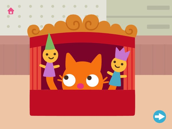 The craftsman tools for kids included in Sago Mini Toolbox even allow you to build a puppet show box for Jinja the Cat.