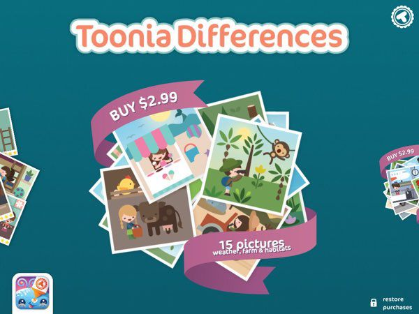 Toonia Differences is a freemium game where you can play the first five puzzles for free and unlock additional themed bundles via in-app purchases.