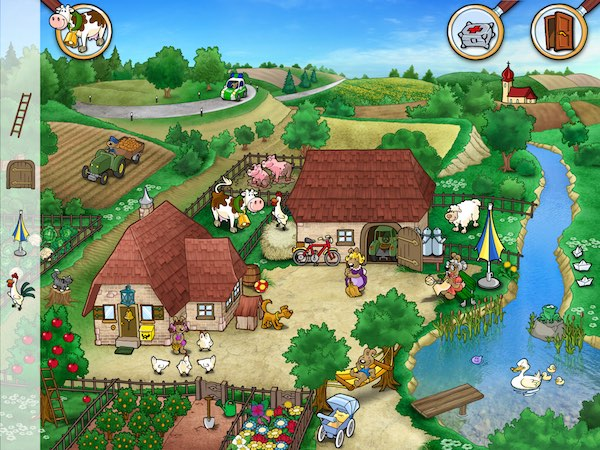 Solve the puzzles and find the hidden object in Emil & Pauline in the Country