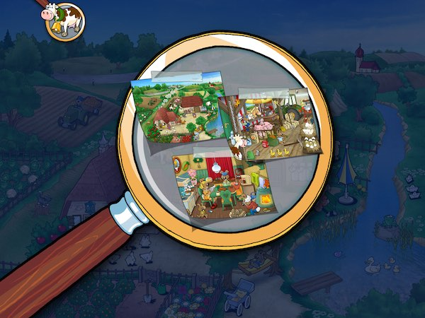 The app has three scenes to choose from: the farm, the barn, and the farmer's dining room