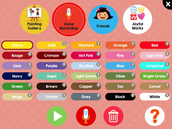 You can record your own voiceovers for the color names, which will be heard when your child selects the color while painting