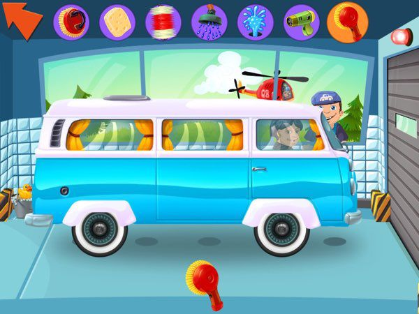 In My Little Car Wash, kids can try different approaches to car wash, especially the eco-friendly ones.