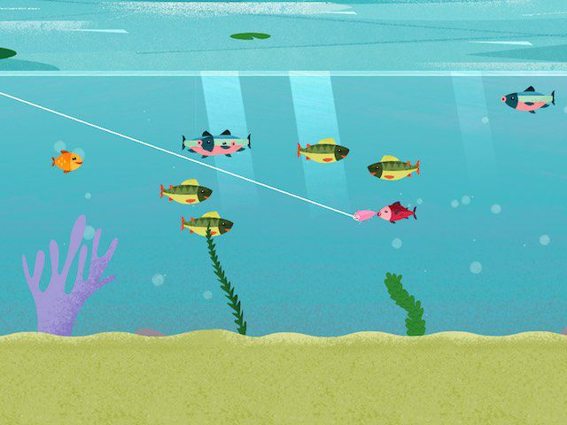 Tap to crank the lure, otherwise it will be automatically reeled in, although very slowly. Your task is to get as many fish possible each time you cast your lure.
