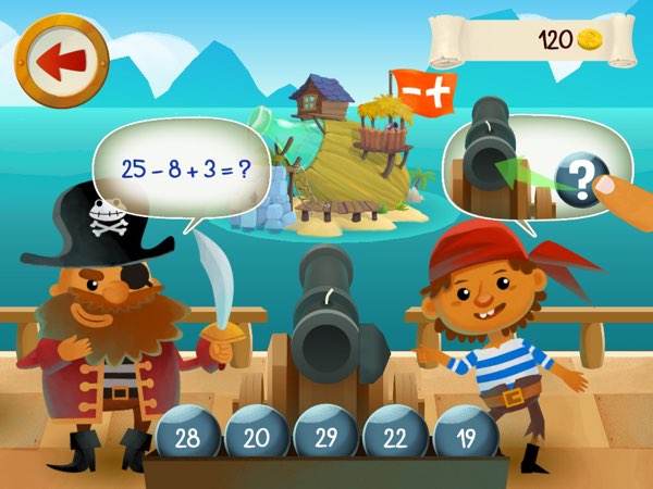 Captain Math offers an endless stream of arithmetic practice problems for your kids -- including ones that involve three operands.
