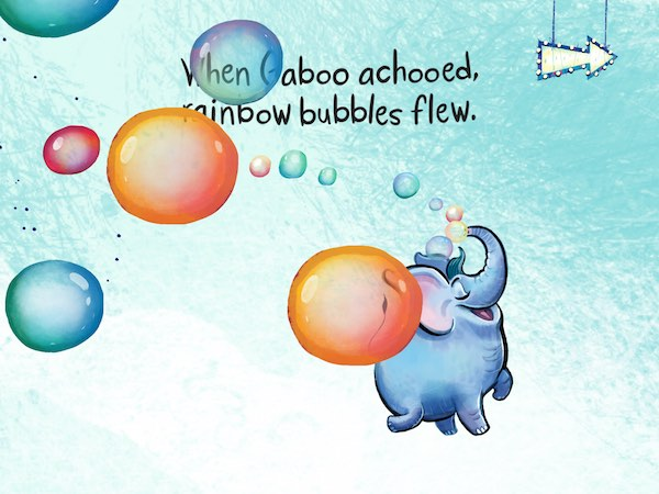 Gaboo the elephant can't stop sneezing in the imaginative tale Achoo Gaboo