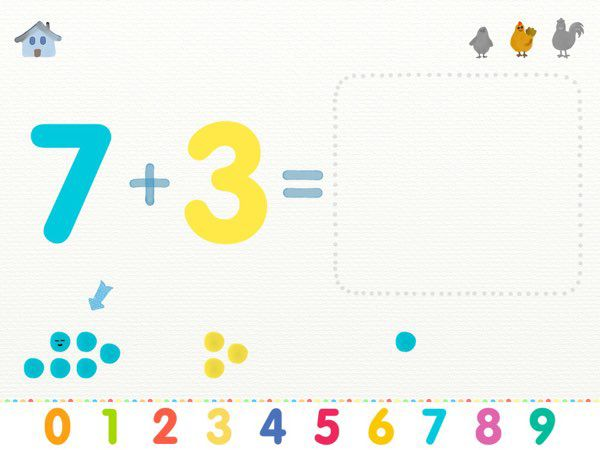 More or Less: Learn Addition and Subtraction uses beads -- inspired by Montessori methods -- to represent the numbers and move them around to represent the operation.