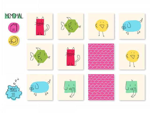 Memomal uses cute scribbles on top of colorful 2D shapes to create the animal cards.