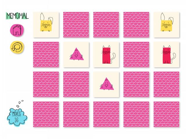 Memomal has two difficulty levels: the easy one that involves 12 cards, and the hard one that involves 20 cards.