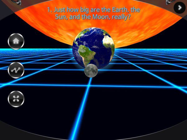 You Know Moon Phases uses 3D simulation throughout the app to explain thedifferent moon phases.