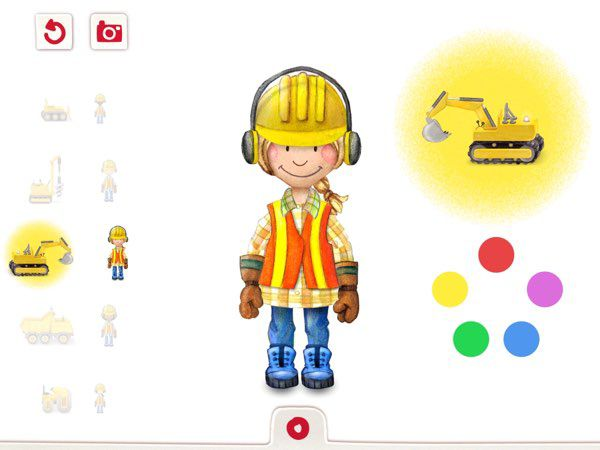 Tiny Builders allows you to customize the appearances of the construction workers and their machines.