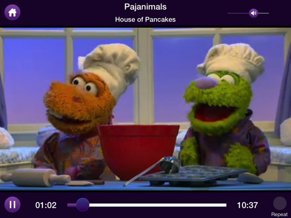 The app includes books, videos, games, and apps that feature popular characters, such as The Pajanimals, Barney, Max and Ruby, and many more